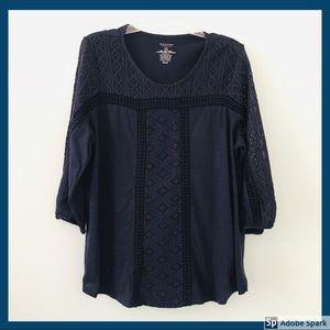 SONOMA Navy Blue Boho Long Sleeve Lace Blouse Top